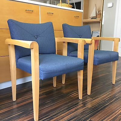 SALE-Mid Century Modern Solid Birch And Blue Pinstripe Upholstery Eames Era