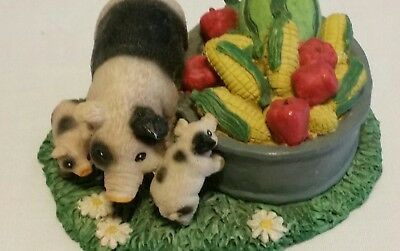 """Young's Pig with Piglets next to a harvest bucket ceramic figurine.  4.5"""" wide"""