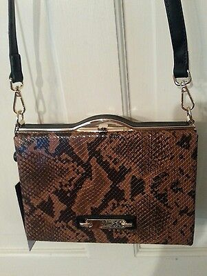 Versace V 19.69 ITALIA Cross Body Bag Brown Snake Skin NWT With Storage ... f73024652c2f2