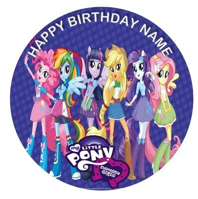 MY LITTLE PONY EQUESTRIA Girls Image Birthday Party Cake Topper 19cm Round