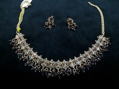 Antique Gold Green Pendant Set Necklace Earring Bollywood Indian Polki
