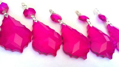 5 Fuchsia Pink 50mm French Cut Chandelier Crystals Prisms Suncatchers