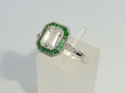 Ladies Art Deco Halo Style 925 Sterling Fine Silver Emerald White Sapphire Ring
