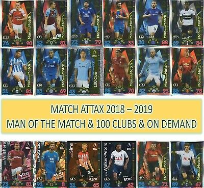 Topps Match Attax 2018 2019 18 19 MAN of the MATCH, RISING STARS + NEW SIGNINGS
