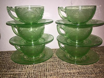 SIX SETS OF INDIANA GLASS No 612* HORSESHOE GREEN *CUPS & SAUCERS*