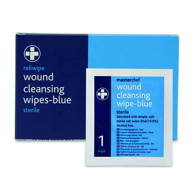150 Reliwipe Sterile Wound Cleansing Wipes - Blue