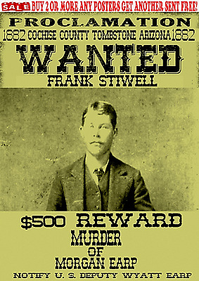 Old West Wanted Poster Stilwell Tombstone Ringo Outlaw Ok Corral Clanton Doc