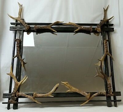 Antique Adirondack Framed Mirror with Stag Horn Decoration