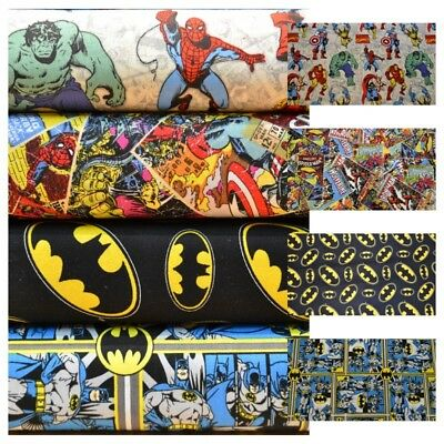Super heroes Batman Avengers Marvel DC Comics 100% cotton Fabric Material VT