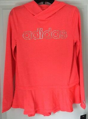 Nwt Adidas Girls Bright Orange Hoodie Size Youth Medium Size 10-12 ~ Msrp $32.00