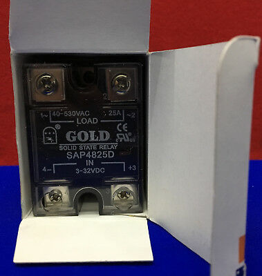 Gold Solid State Relay 40-530 VAC -25A - SAP4825D. Selling as 1 lot of 10 relays