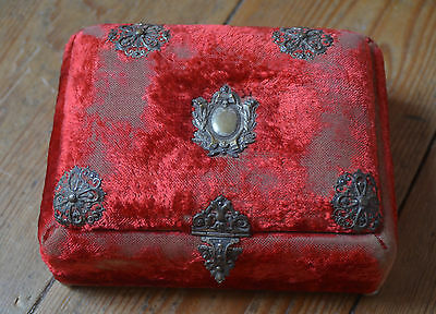 Antique French Nap III red velvet boudoir/sewing/jewellry box, silver decoration