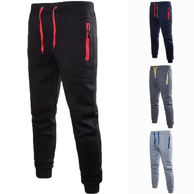 Mens Boys Thicken Sport Pants Loose Trousers Zip Fitness Joggers Gym Sweatpants