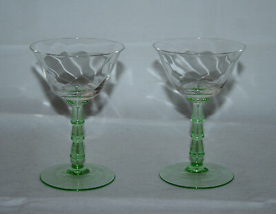 Two Vintage Art Deco Style Cocktail Glasses