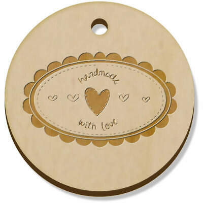 11 x 34mm 'Handmade With Love Oval' Wooden Pendants / Charms (PN00011325)