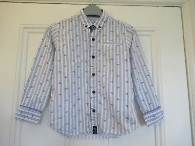 6-7 yrs: Lovely TED BAKER smart casual shirt: Striped + purple dogs heads: