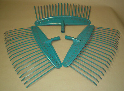 Lot of 3 Vintage Garden Tool Leaf Rake Head Rustic Wall Art Farmhouse Decor