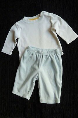 Baby clothes BOY 3-6m outfit white/blue LS top, blue fleecy trousers SEE SHOP!