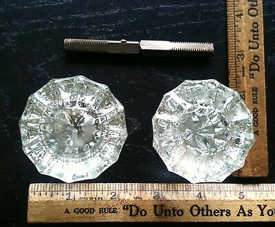 Antique Victorian 12 Point Crystal Sunburst Glass Door Knob Pair