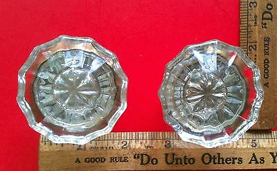 Antique Victorian 12 Point Crystal Sunburst Glass Low Profile Door Knob Set
