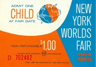 1964 New York World's Fair Child Admission Ticket