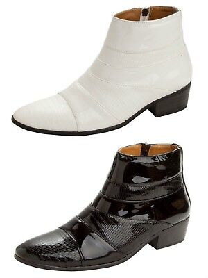 0b9a47544cb Mens Patent Smart Italian Dress Cuban Heel Zip Up Ankle Boots Formal Shoes  Size