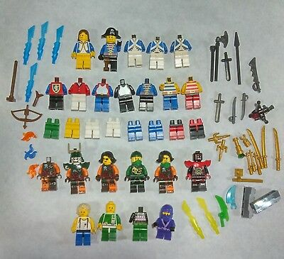 LEGO 2 NEW PIRATE MINIFIGURES OF THE CARIBBEAN COLONIAL MEN WITH WEAPONS PARTS