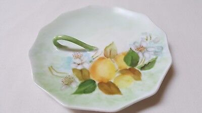 Vintage Unique  Hand Made & Painted Plate With Handle Fruit & Fruit Flowers
