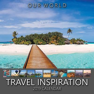 Travel Inspiration 2019 Wall Calendar ~ Wanderlust ~ Month A Page ~ Grid ~ Notes