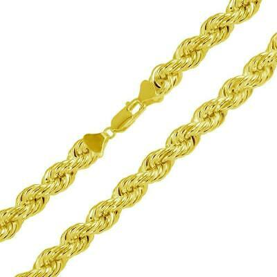Rope Chain 14K Gold Over Solid 925 Silver Made In Italy Men's Women's 2.50mm