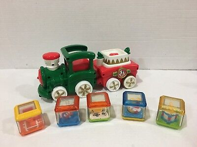 Fisher-Price Peek-A-Blocks Christmas Train with Sounds Lights Motion 5 Blocks