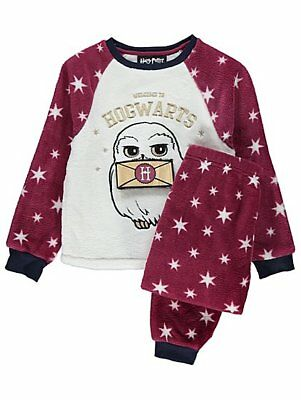 Girls Harry Potter Hogwarts Owl Fleece Pyjamas Pyjama Set Kids PJs