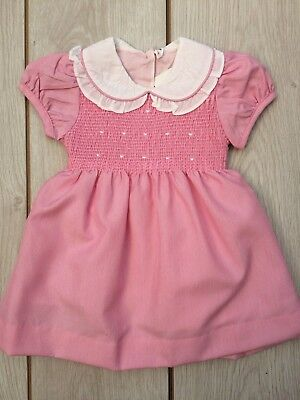 Adorable Girls Romany Spanish Style Traditional Smocked Vintage Pink Dress 1-6yr