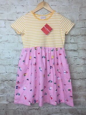 038db7d75d9e Hanna Andersson MIXIE PLAY DRESS Girls Size 130 US 8 Bird Striped NWT