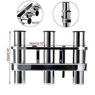 Mirror Polished Stainless Fishing Rod Pole Rack Holder 3 Tube Storage  for Boat