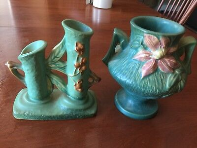 "Lot of 2 Roseville Art Pottery Vases Floral Green 873-6"" 188-6"""