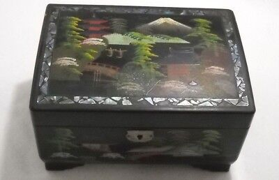 Vintage Japanese Music Jewelry Box Hand Painted Inside and Out