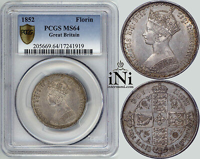 iNi  Great Britain, Victoria, Gothic Florin 1852, PCGS MS 64