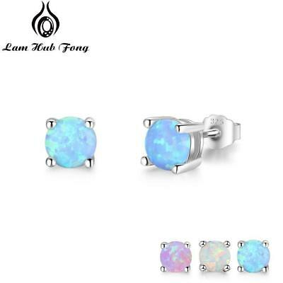 7b9248b2a Cute 5mm Round Created Blue Pink White Opal Earrings 925 Sterling Silver  Studs
