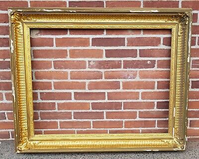 Large Antique 19th Century Gilt Wood Painting Frame Fluted Cove circa 1870