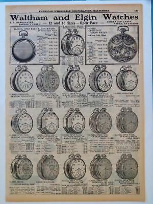 1925 Waltham & Elgin Pocket Watches Railroad Engraved Octagon Catalog AD Page
