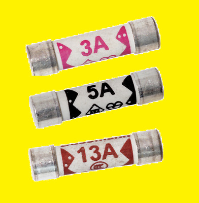 Household Fuses 13A 5A 3A 1A Amp Fuses -  For Plug Sockets Electronics
