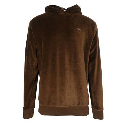 Stussy Men/'s Brown Velour L//S Pull Over Hoodie Retail $77