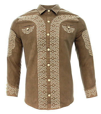 Men's Charro Shirt Camisa Charra by White Diamonds Boots Color Beige