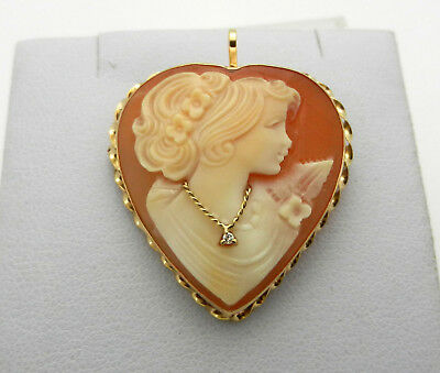 Vintage 14K Gold Giovanni APA Hand Carved Shell Cameo Diamond Brooch/Pendant