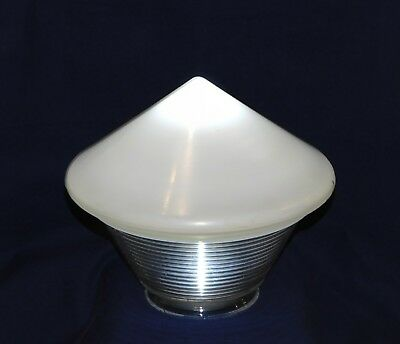 Vintage Art Deco Frosted & Clear Ribbed Pendant Light Globe