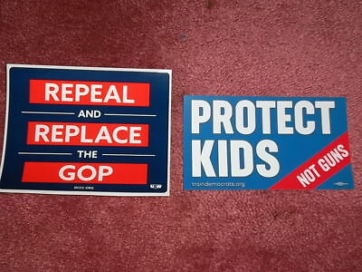LOT 2 LAPTOP BUMPER STICKERS DECALS Progressive Liberal Democratic Protect Kids