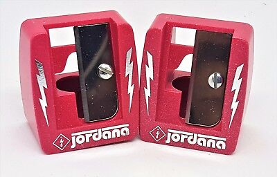 Lot of 2 New Cosmetic Sharpeners with Cleaning Stick Jordana 16mm Model 716 Red