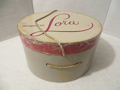 Vintage Antique GIFT HAT BOX DESIGNED BY LORA Hats 12 Inch PINK & GRAY with ROPE