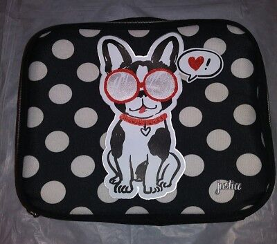 Justice 2 Side Pawsitivity Lunch Bag/Tote Insulated Black/White/Red Dog/Puppy